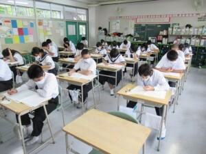 9月14日 3年生実力テスト、オンライン授業、清掃